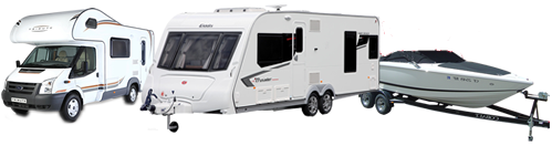 Motorhome touring caravan and boat
